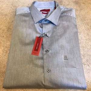 Alfani Men's Fitted Grey Button Down